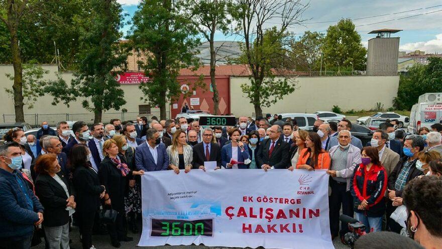 CHP'lilerden cezaevi önünde 3600 ek gösterge açıklaması