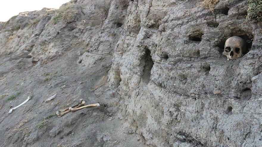 Değirmenler Höyüğü'nde korkutan görüntü! Kafatası ve kemikler çıkıyor