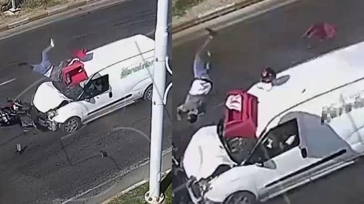 Feci kazada motosiklet sürücüsü havaya uçtu