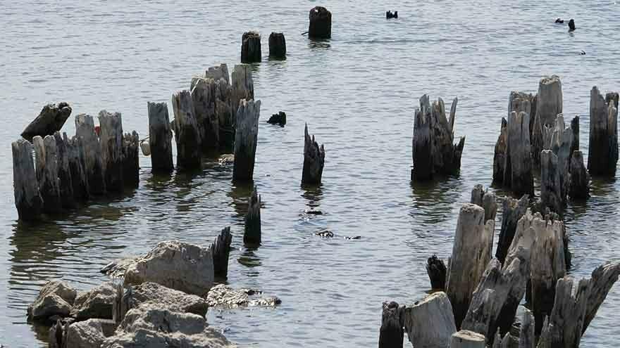 Sular çekilince yüz yıllık iskele ortaya çıktı