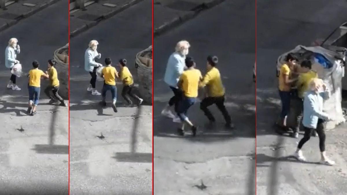 Okul çağındaki çocukların çöp kapma yarışı!