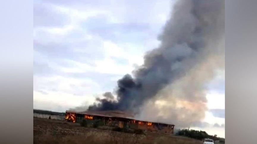 Kırklareli'de hayvan çiftliğinin saman ve ot deposunda yangın