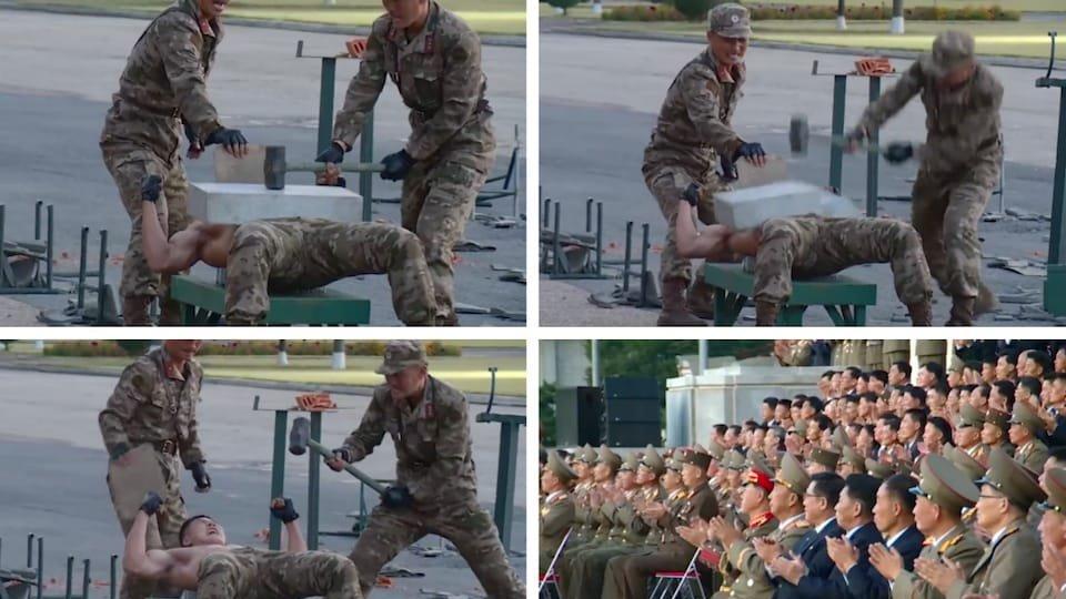 Kuzey Kore askerlerinden gövde gösterisi
